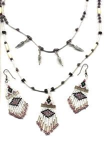 Pink and Silver Necklace Set *Hematite*